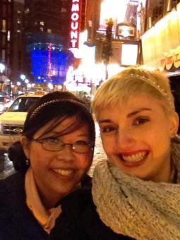 Wearing my Eugenia Kim Rhinestone headband to the Nutcracker with my beautiful friend Sara
